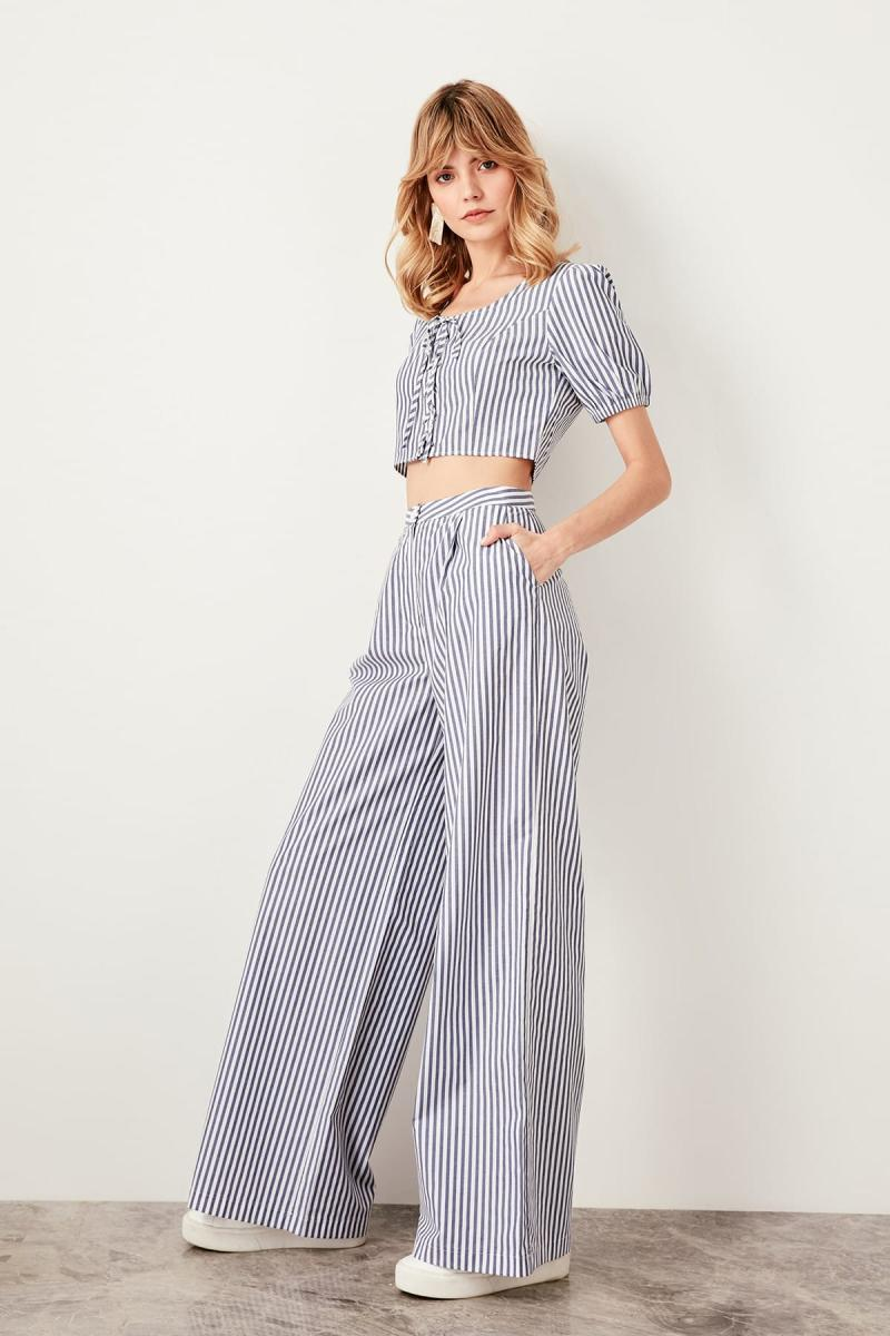 Trendyol Indigo Stripe Pants TWOSS19XB0148