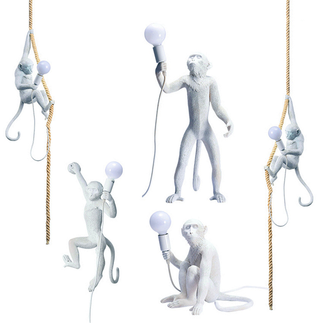 Nordic LED Resin Monkey Lamp Living Room Restaurant Bar Bedroom Luminaire Pendant Lights Kitchen Fixtures Luminaria Hanging Lamp