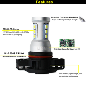 Image 3 - IJDM CANBUS אין שגיאת H16 LED 5202 PS19W PSY24W LED נורות לאאודי A3 8P 2008 + LED DRL בשעות היום ריצת אורות לבן 6000K אדום 12V