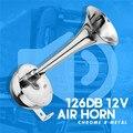 Хит продаж  все металлические 12В 126дб  супер громкий Электрический гудок  воздушный рожок  Хромовая Звездочка с кронштейном для автомобиля  ...