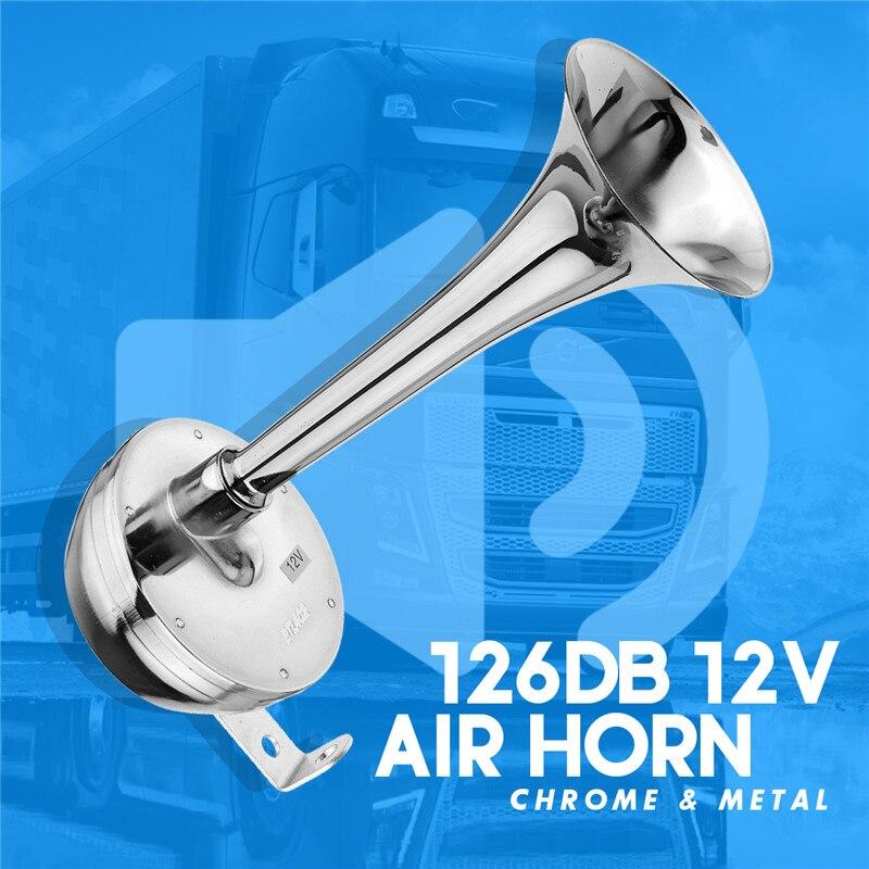 Горячая Распродажа, полностью металлический 12 В 126DB супер фотомагнитный клаксон, хромированный трахеальный клаксон с кронштейном для автом...