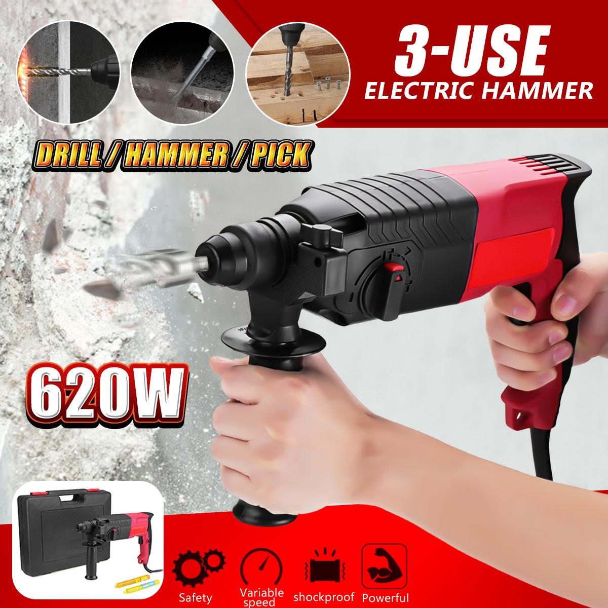 650W 220V 24mm 3 Function Electric Rotary Hammer Electrodrill Household Cordless Power Electric Impact Drill Pick Gift 2 Bit650W 220V 24mm 3 Function Electric Rotary Hammer Electrodrill Household Cordless Power Electric Impact Drill Pick Gift 2 Bit