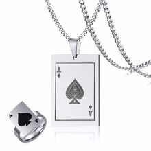 Mens Ace Of Spades Dog Tag Collana Anello Set di Tono Poker Pendente per Gli Uomini In Acciaio Inox del Casinò Carte Da Gioco di Sesso Maschile gioielli(China)