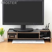 Proster Decorative Wood Computer Desktop Over Keyboard Monitor Riser Stand Desk Organizer Stand Storage Box Case For Office