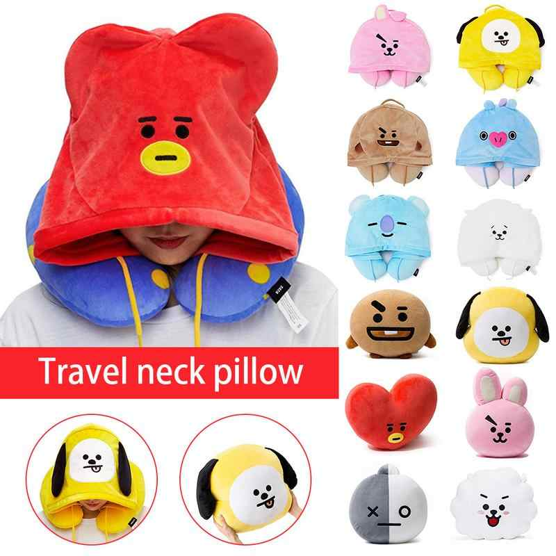 U-shaped Pillows Travel Outdoor Portable Pillow Neckrest Travel Folding Slow Rebound Train Plane Office Travel Hooded Pillows
