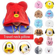 Модные путешествия подушка для шеи мультфильм U-подушка с капюшоном многоразового использования