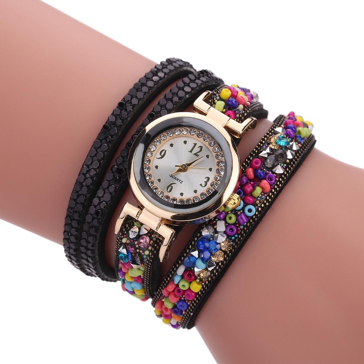 Fashion Luxury Leather Watch Kvinnor Classic Crystal Decor Armband - Damklockor - Foto 2