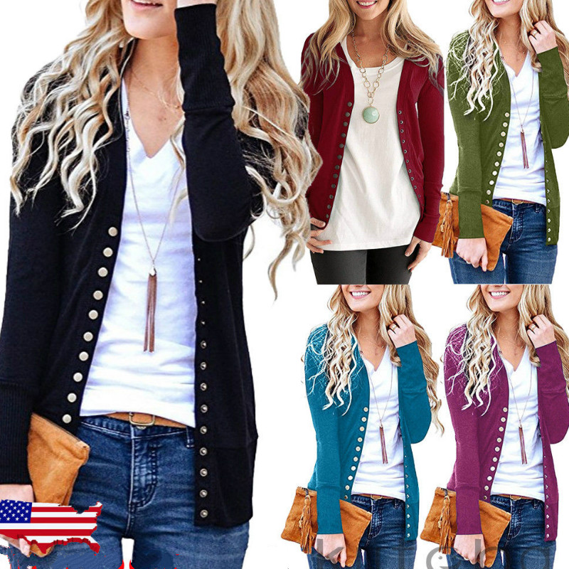 2018 Fashion Autumn Winter Women Casual Long Sleeve Knitted Cardigans New Ladies Button Sweaters Plus Size S-2XL
