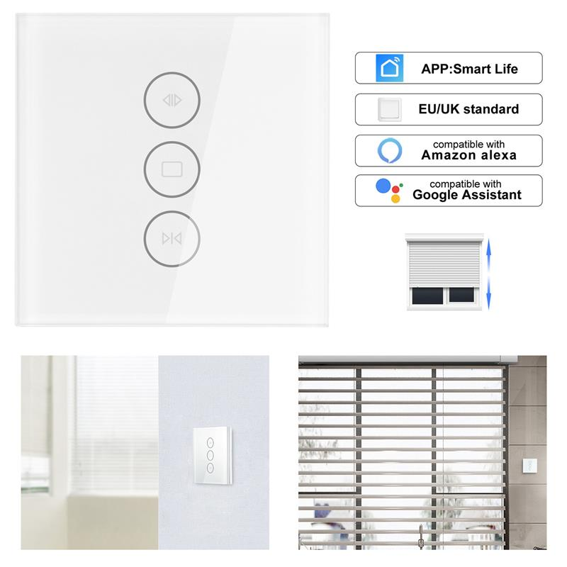 WiFi Electrical Blinds Switch Touch APP Voice Control By Alexa Echo AC110 To 250V For Mechanical Limit Blinds Motor EU/UK