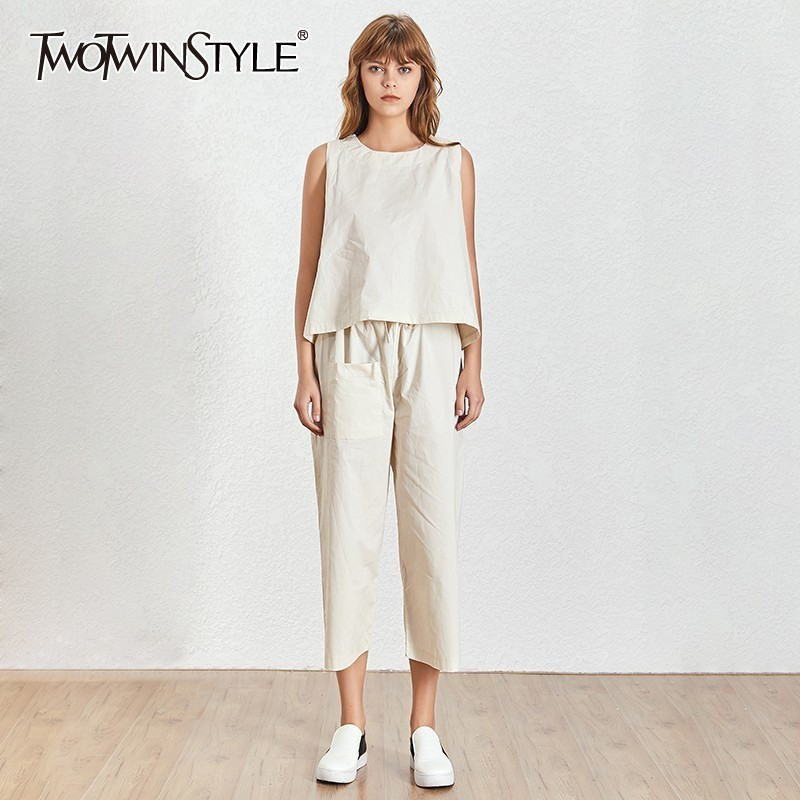TWOTWINSTYLE Women Piece Suits Sleeveless Basic Short Vest With Lace Up High Waist Pocket Long Trousers 2020 Summer Casual New