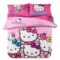 Cartoon cat beddingset 3/4pc duvet cover sheet