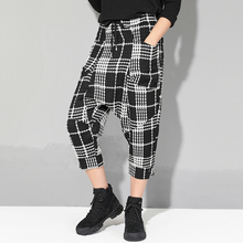 Plus Size Women Plaid Pants 2019 Spring New Streetwear Style Drawstring Waist Harem Pants Lining Mesh Pockets Design Capri Pants plus size women plaid pants 2019 spring new streetwear style drawstring waist harem pants lining mesh pockets design capri pants