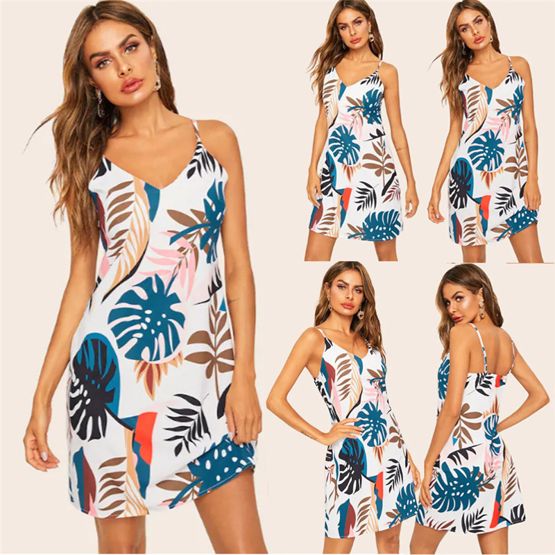 nice shoes authorized site reputable site Women Floral Printing Boho V Neck Slip Dress Dinner Dress Summer ...