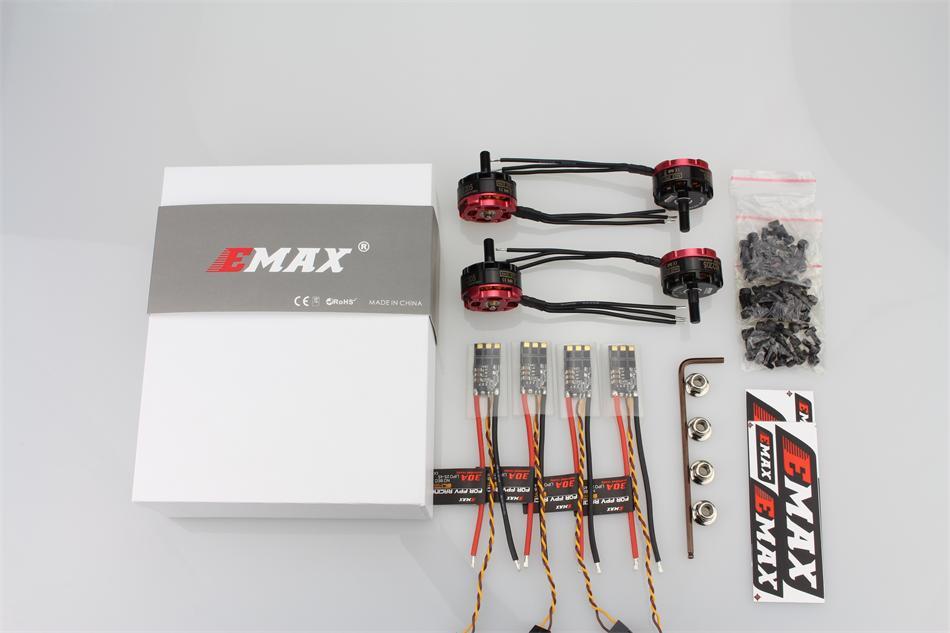 4 ensemble/lot EMAX RS2205 2300KV/2600KV CCW moteur sans brosse foudre 30A mini ESC RC Combo pour Drone quadrirotor de course FPV