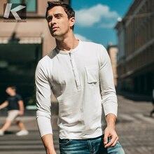4ce4f2fc95ba Autumn Men T Shirt 100% Cotton Button Pocket Black White Color For Man  Fashion Long