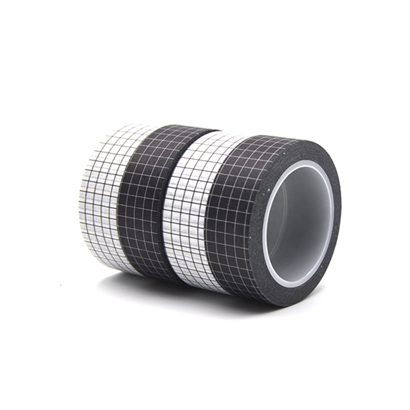 Black And White Grid Washi Tape Japanese Paper DIY Planner 10M Masking Tape Adhesive Tapes Stickers Decorative Stationery Tapes