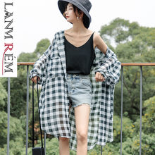 LANMREM 2019 New Summer Styles Thin Dresses Women Plaided Chiffon Thin Loose Shirt Dress Hooded With Hat Female WF61101(China)