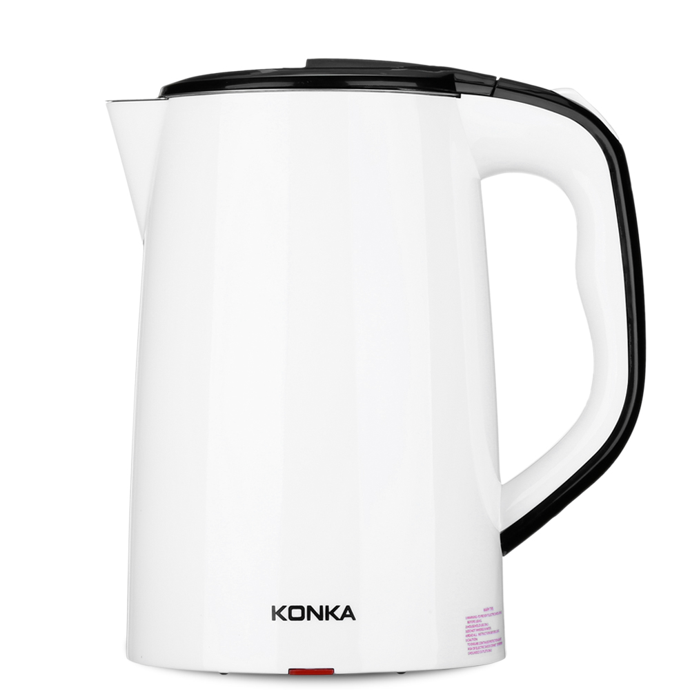 KONKA 1500W 1.8L Stainless Steel + ABS Electric Water Kettle Anti-Dry Protection Safety Auto-Off Double Layer Large Kettle electric kettle double layer insulated kettle stainless steel electric kettle insulation anti dry electric water kettle