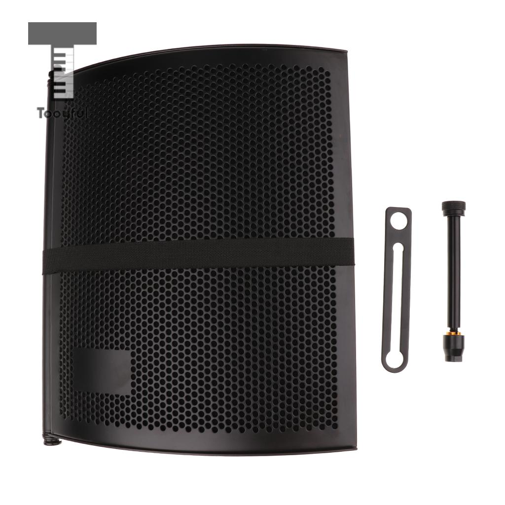 Foldable Microphone Isolation Shield Panel Studio Mic Sound Absorber Filter for Condenser Microphone Recording 3 5mm jack audio condenser microphone mic studio sound recording wired microfone with stand for radio braodcasting singing
