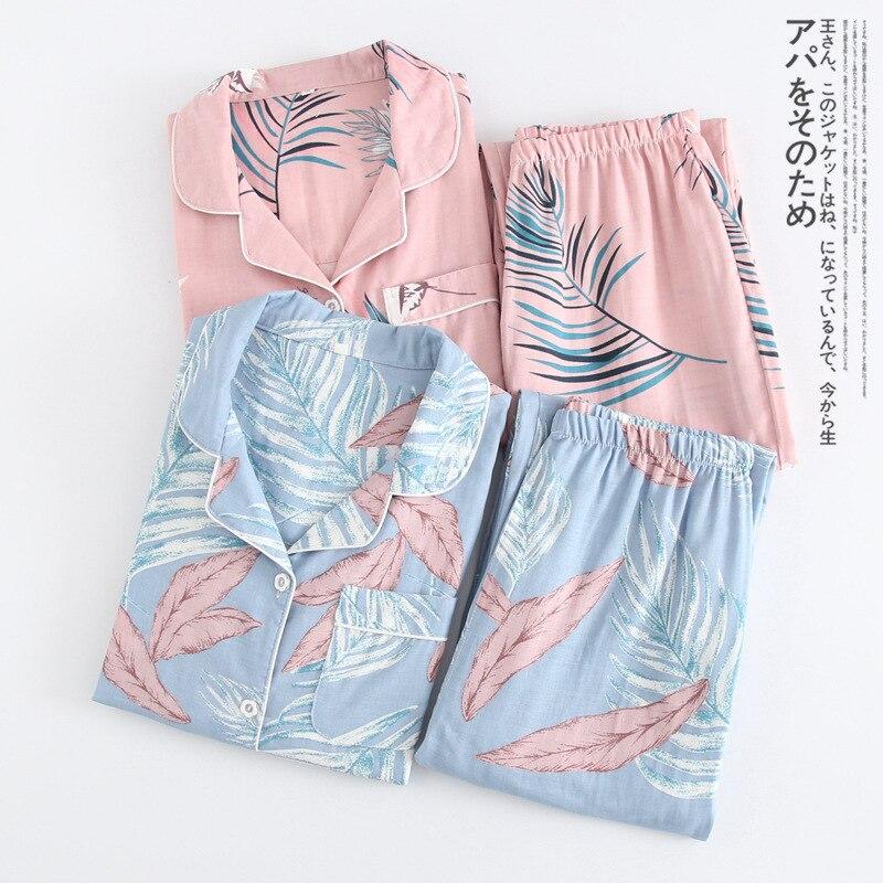 2018 100% Cotton Gauze-thin Long Sleeve   Pajamas   Winter Sweet Loose   Pajama     Set   Double Yarn Leisurewear Pijamas Suit Pyjamas Women