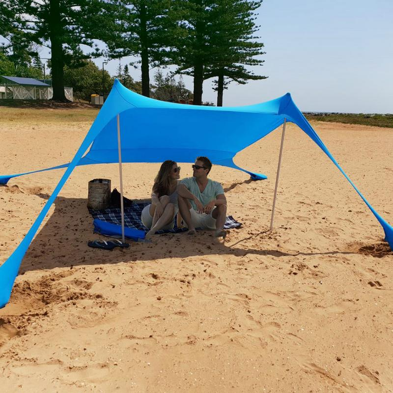Family Beach Sunshade Lightweight Sun Shade Tent With Sandbag Anchors Comfortable For Parks & Outdoor Camping Dropshipping|Sun Shelter| |  - title=