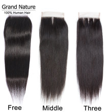 "Grand Nature Three Part Lace closure Peruvian Straight Human Hair 1 Bundle With Closure 4x4"" With Baby Hair Remy Free Shipping(China)"
