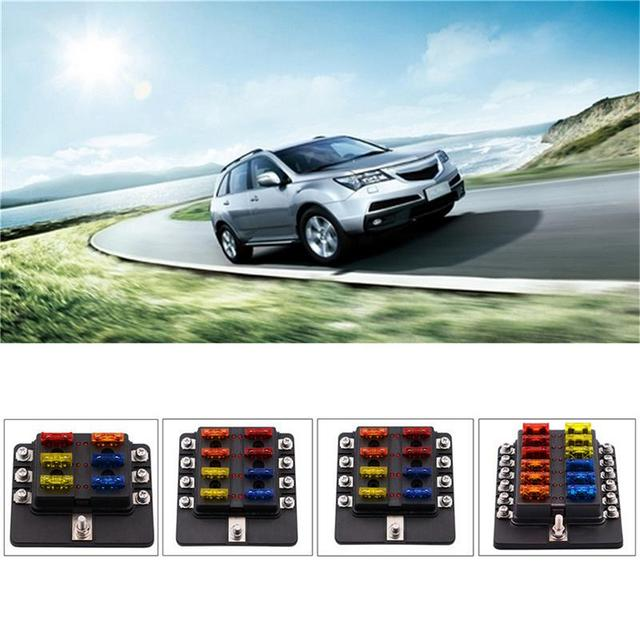 New Screw Binding Post Model 12 Ways Fuse Box With LED Indicator Light For Car Off-road Vehicle Touring Car Bus Yacht Boat