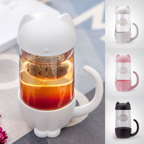 Cute <font><b>Cat</b></font> Glass <font><b>Cup</b></font> Tea Mug With Fish Infuser Strainer Filter Home Offices image