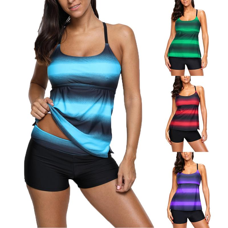 Women Color Block Strappy Hollow-out Back Tankini Two-piece Swimwear Sets Plus Size S-4XL Swimwears For Summer