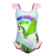 AmzBarley Rainbow Unicorn Swimwear Girls One-Piece Swimsuit Beach Holiday Party Outfit Ruffle Sleeve Toddler Kids Bathing Suit girls unicorn print ruffle trim swimsuit
