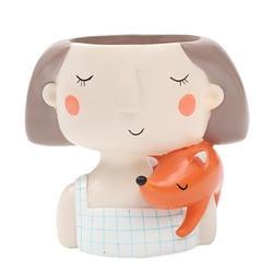 Мягкий-прекрасная девушка мультфильм дизайн смолы завод цветочный горшок горшочки с суккулентами кашпо карликовые деревья горшок