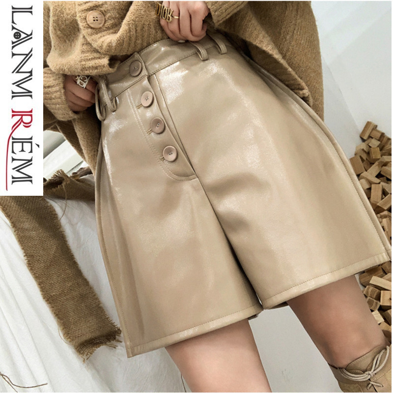 LANMREM 2019 New Women Light Patent Leather Pocket Above Knee   Wide     Leg     Pants   Fashion Spring Autumn Female Short Trousers TB155