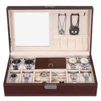 Jewelry Box 8 Slots Storage Case With Lock And Mirror Cosmetics Beauty Storage Box Watch Makeup Choker Ring Necklace Organizer