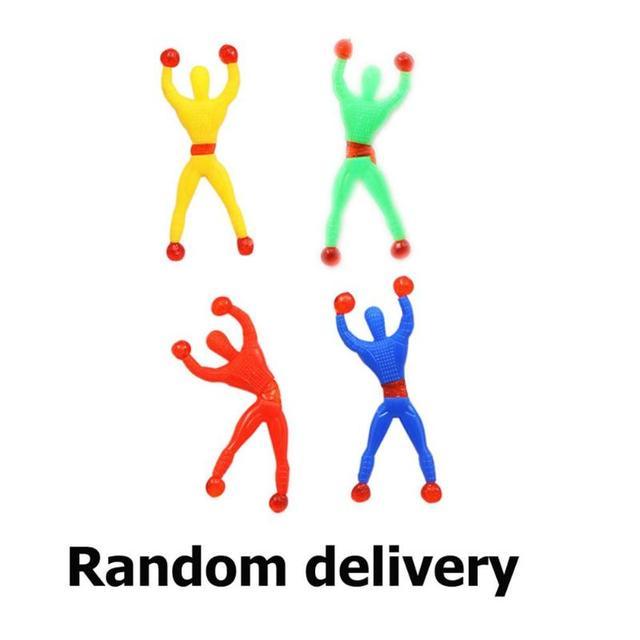 1 pcs Brinquedos Da Novidade Pegajoso Aleta Spiderman Parede de Escalada Escalador Brinquedos do Miúdo Clássico Cor Aleatória Presente Das Crianças da Educação Brinquedos