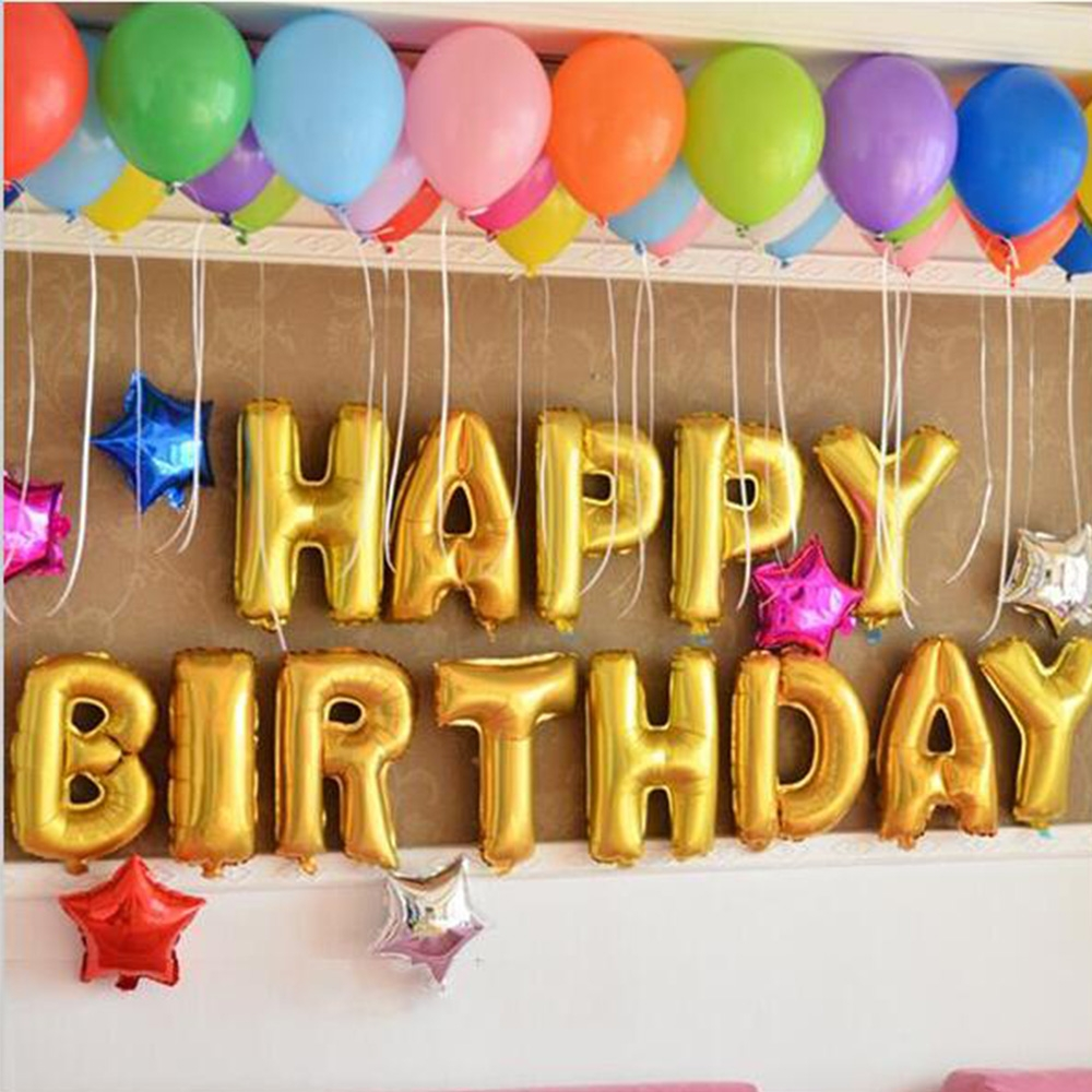 16 Inch Happy Birthday <font><b>Foil</b></font> Balloons <font><b>100Pcs</b></font> Air <font><b>Ballons</b></font> 10 Inch 10Pcs Love Star <font><b>Foil</b></font> Balloons Birthday Party For Kids Toys image