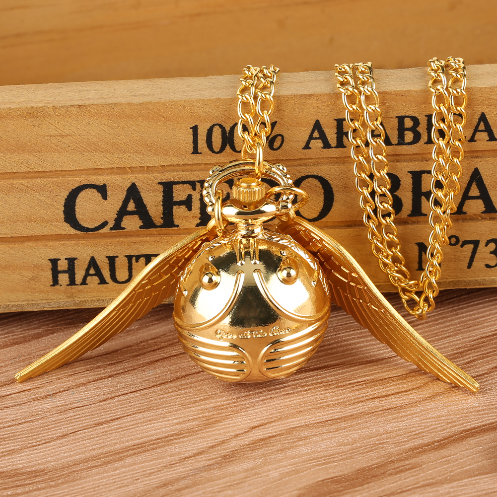 Golden Snitch Ball Shape Quartz Pocket Watch For Women With Angle Wings For Ladies Small Dial Pendant Necklace Watches Gift