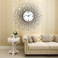 2019 Luxury Diamond Wall Clock Iron Art Metal Crystal 3D Large Wall Clock Round Watch Mirror Diamond Hanging Clocks Home Decor Wall Clocks    -
