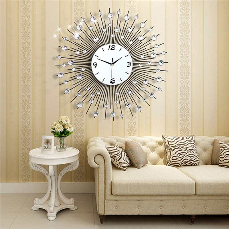 2019 luxe diamant horloge murale fer Art métal cristal 3D grande horloge murale ronde montre miroir diamant suspendus horloges décor à la maison