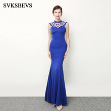 SVKSBEVS Luxury Crystal O Neck 2019 Elegant Beading Mermaid Long Dresses Sexy Party Hollow Out Backless Maxi Dress