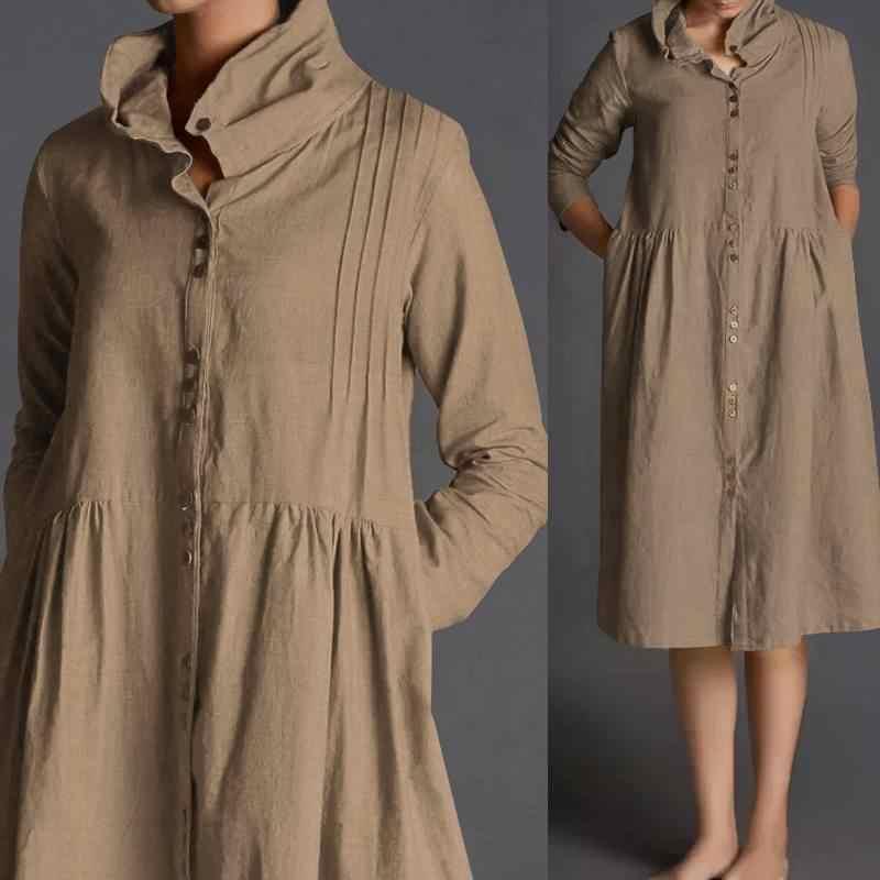 40d7fe143aa Women Long Sleeve Buttons Down Vintage Dress 2019 Celmia Casual Loose  Female Cotton Linen Shirt Dresses