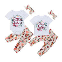 Family Matching Outfits Toddler Kid Baby Girls Sister Tops Romper T-shirt Pants Outfit Set
