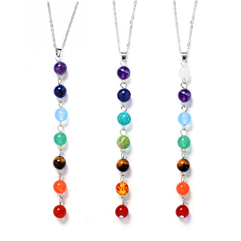 7 Chakra Stones Reiki Healing Point Chakra Pendant Charm Pendant Ankh Yoga Jewelry 1