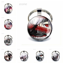 Tokyo Ghoul Kaneki Ken Metal Keychains Keyring Glass Cabochon Anime Pendant Key Chains Rings Cosplay Gifts стоимость