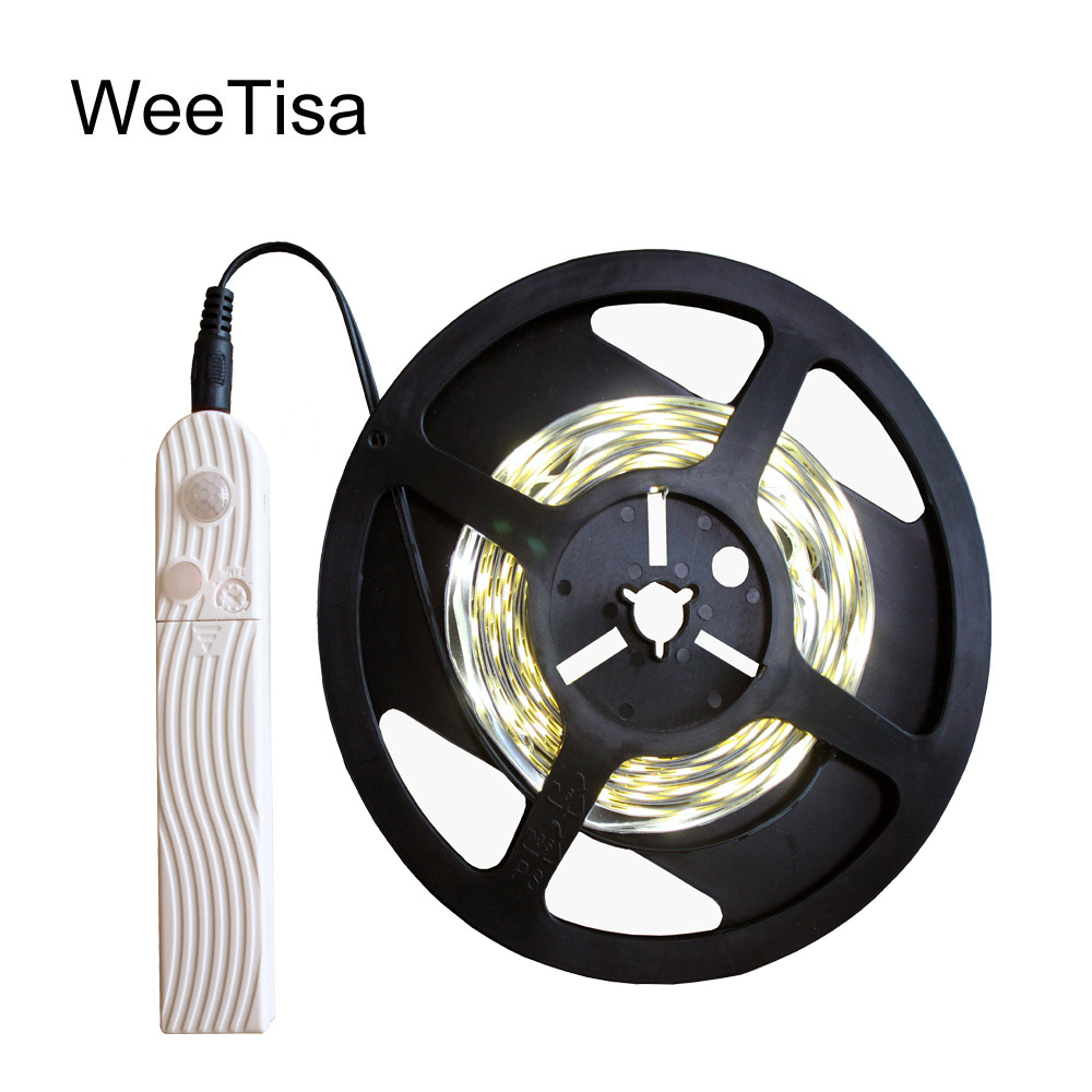 Battery LED Strip Motion Sensor SMD 2835 Warm White USB LED Tape Battery Operated 5V PIR LED Stripe Light For Kitchen Cabinet