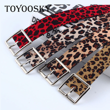 TOYOOSKY New Fashion Punk Heart Buckle Women PU Leather Leopard Belt Velvet Cover Thin Ladies Belts For Jeans Heren Riem