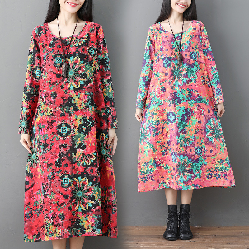 Vintage Floral Print Dress Women 2019 Spring Summer New Fashion O Neck Long Sleeve Dresses Casual Femme Vestidos in Dresses from Women 39 s Clothing