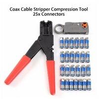 Crimping Tool Coaxial Cable Compression Tool Crimper For Coaxial Connector Cable Alicate Terminador 24Pcs Compression Connectors Pliers     -