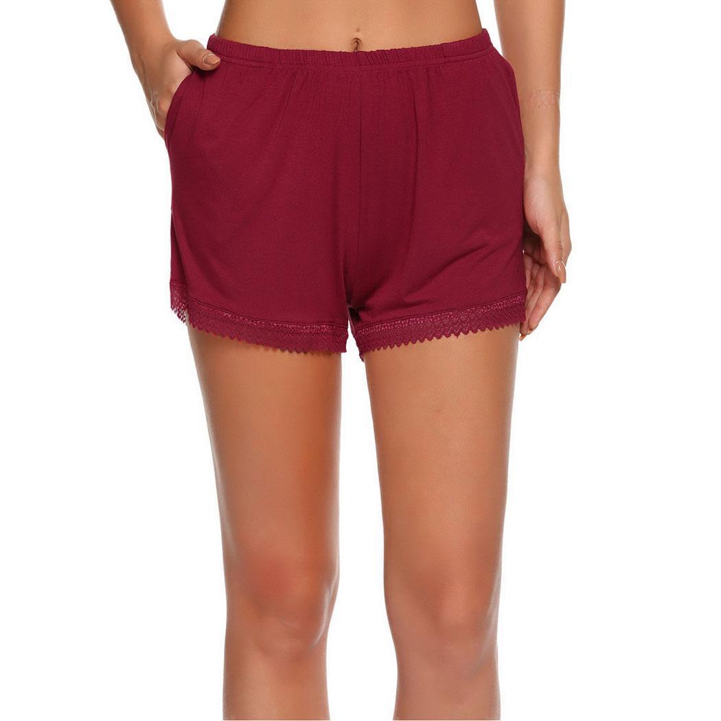 Casual Nightwear Shorts Lace 92Cm 175Cm Decoration Height Hip Sleepwear 91Cm Women 60Cm Solid Bust Summer Waist Pajamas