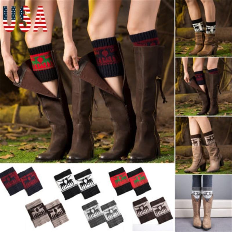 Women Warm Winter Crochet Boot Cuffs Elk Knitted Toppers Boot Socks Leg Warmer  Casual Short Knee Sleeve