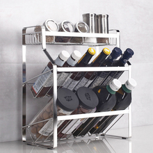 3 Layers Inclined spicing Racks Desktop Seasoning bottle Organization Holders Kitchen Storage shelves stainless steel water table three layers show gum shelves lipstick